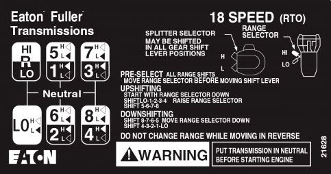 9 SPEED FULLER TRANSMISSION RT RTX SHIFT PATTERN